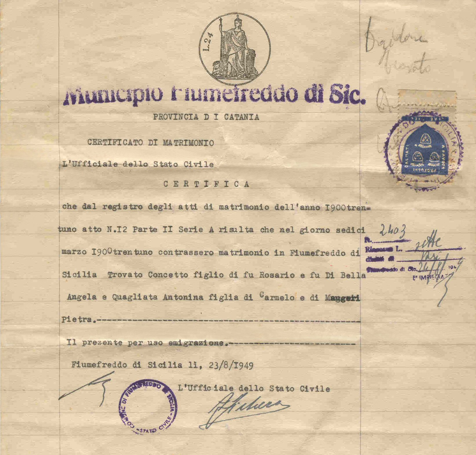 Concetto Antonina Trovato Marriage Certificate