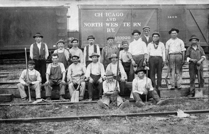 A C&NW Rail Yard Crew in the Proviso Rail Yard, c. 1920. Joseph Quagliata is back row, third from left.