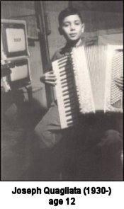 Joseph Quagliata playing the accordian, age 12  (1942).