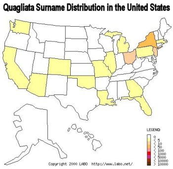 Quagliata surname distribution in the United States.