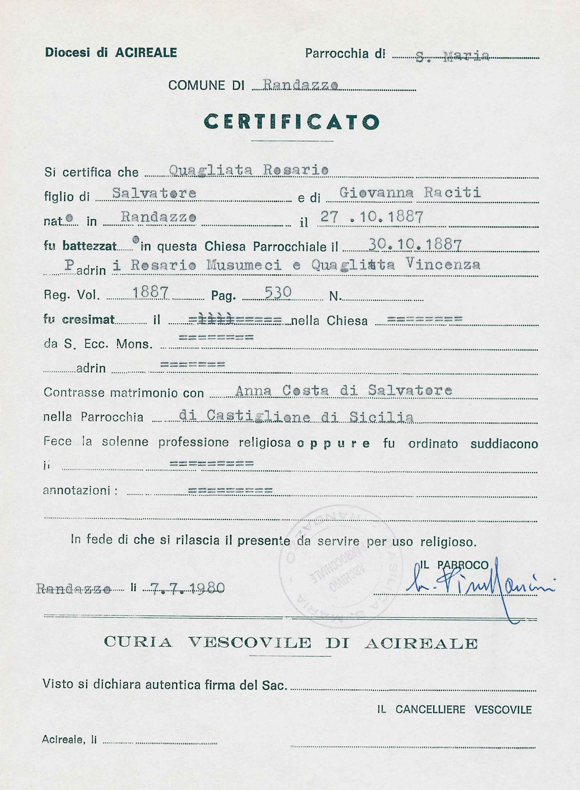Welcome to the quagliata genealogy project rosario quagliatas birth certificate copy aiddatafo Images